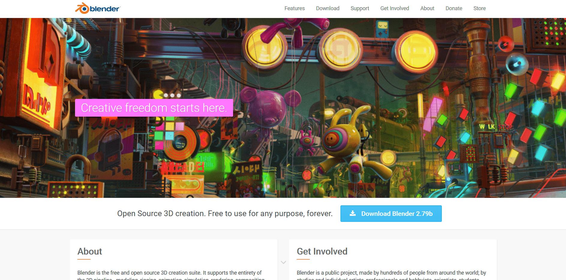 Startseite von Blender