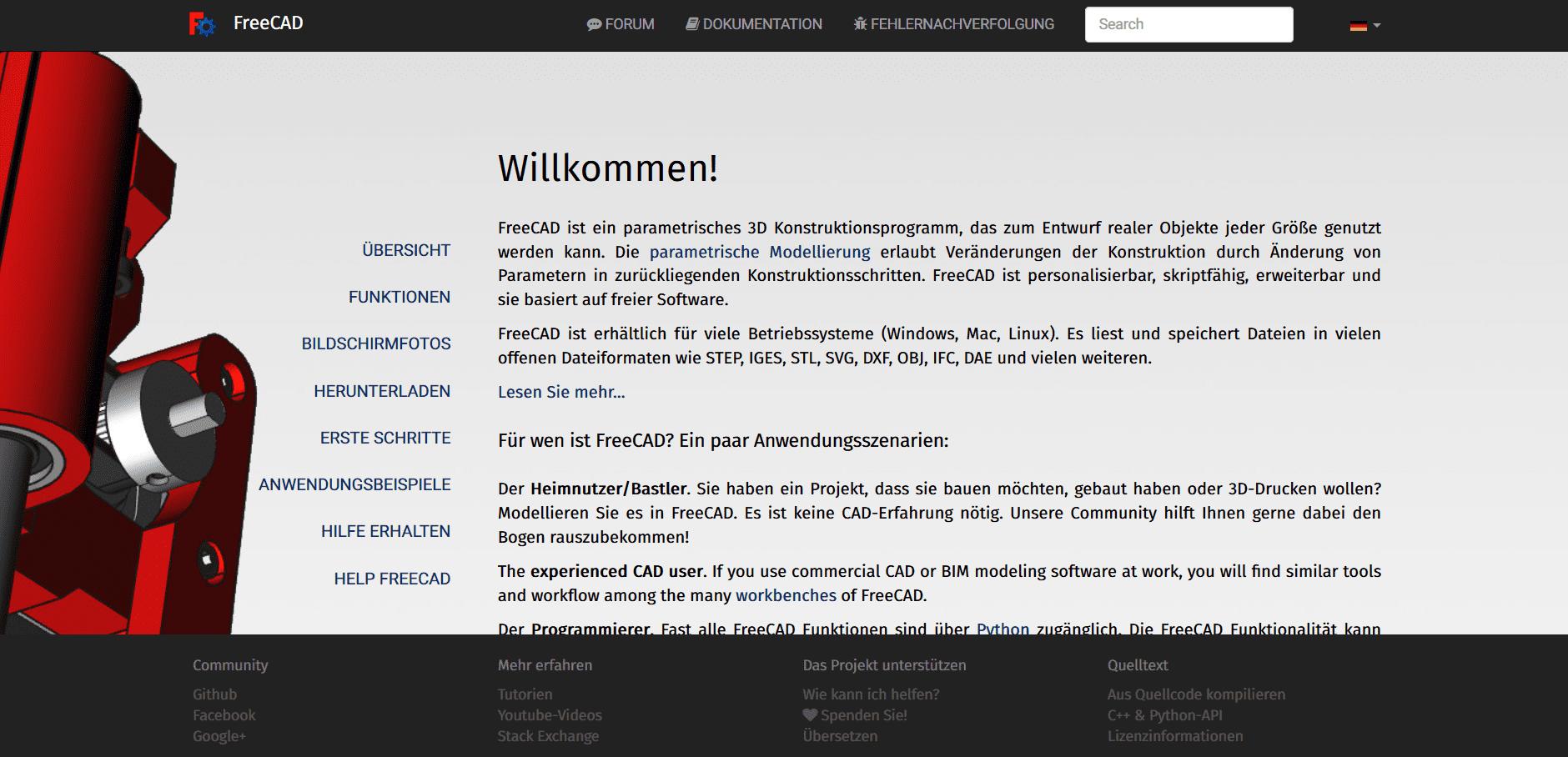 Startseite von Freecad