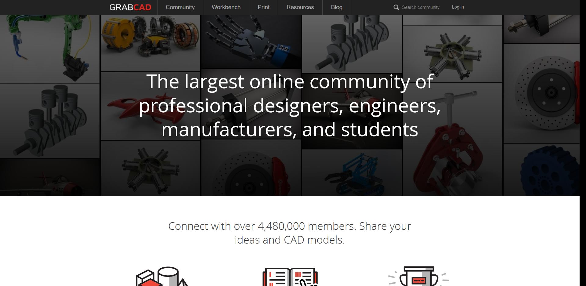 Startseite der GrabCAD 3D Drucker Vorlagen Seite