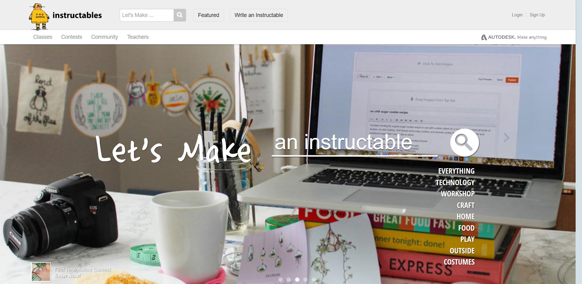 Startseite der Instructables 3D Drucker Vorlagen Seite