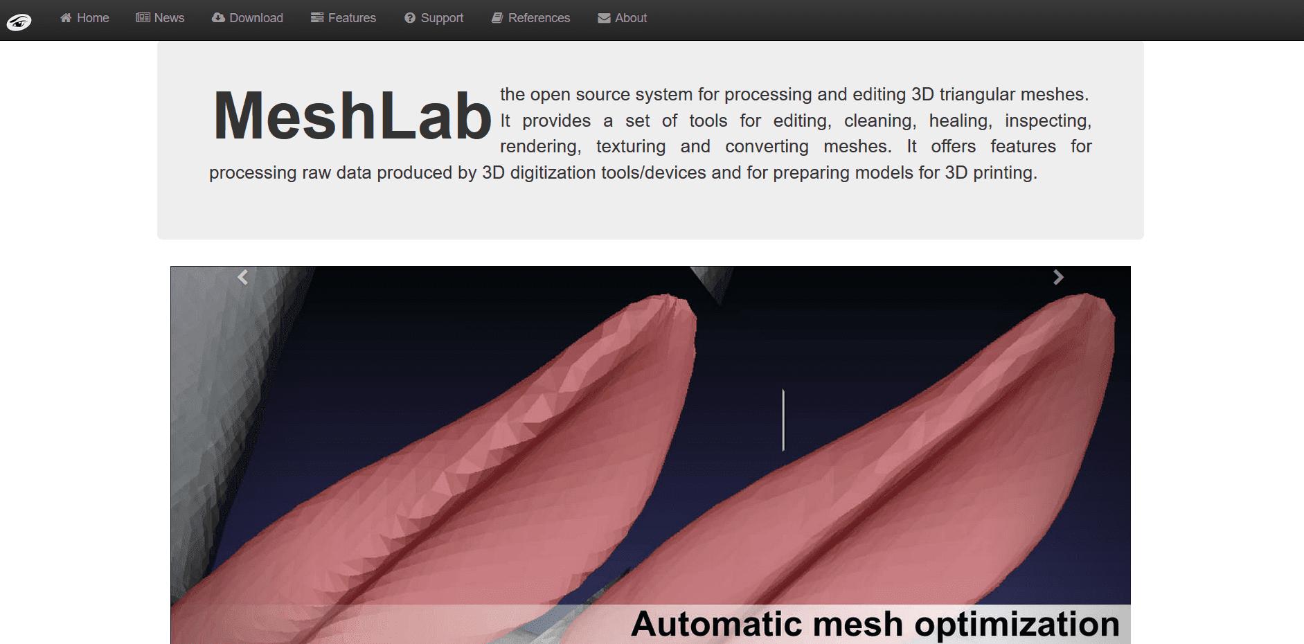 Startseite von Meshlab