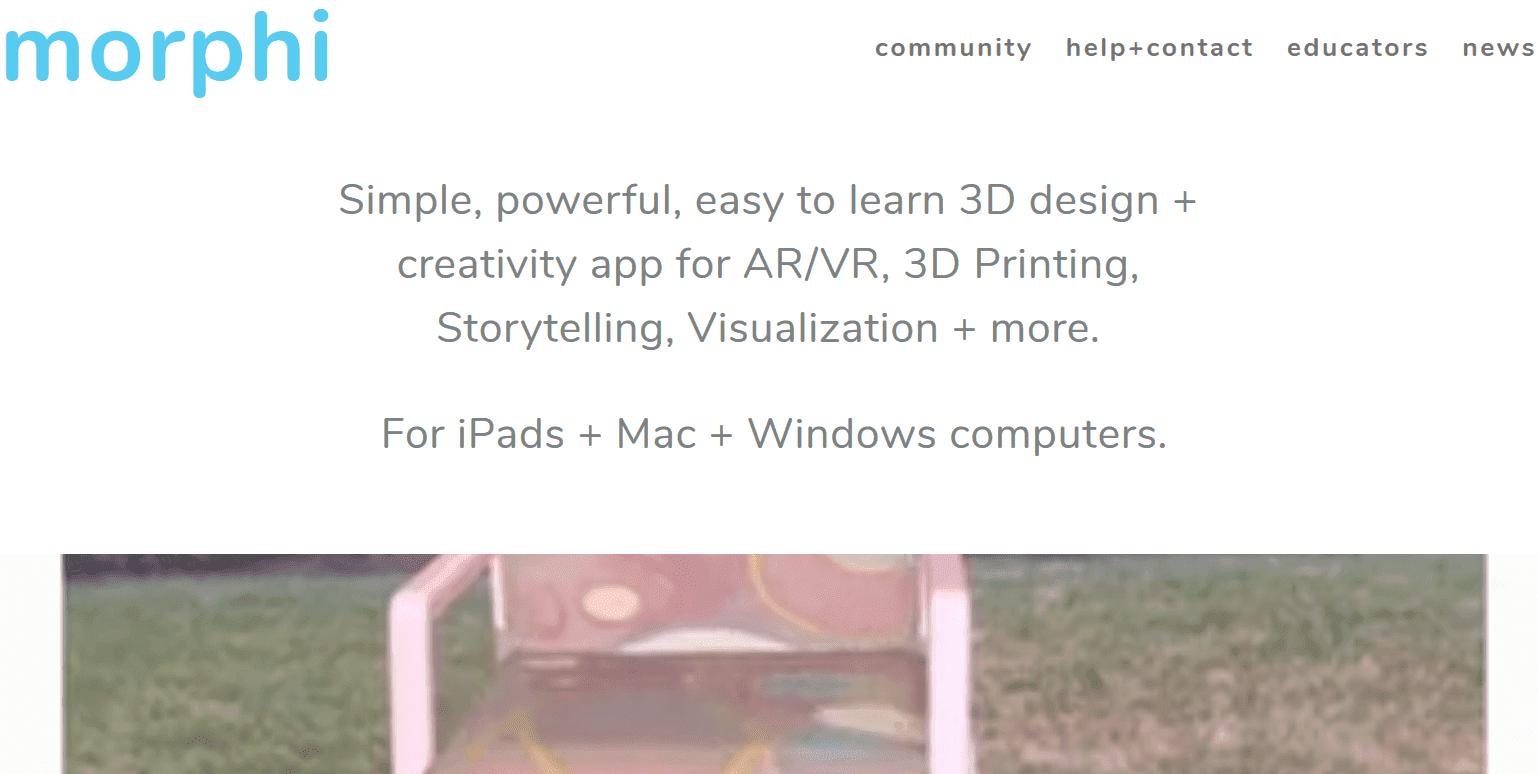 Site von der App Morphi