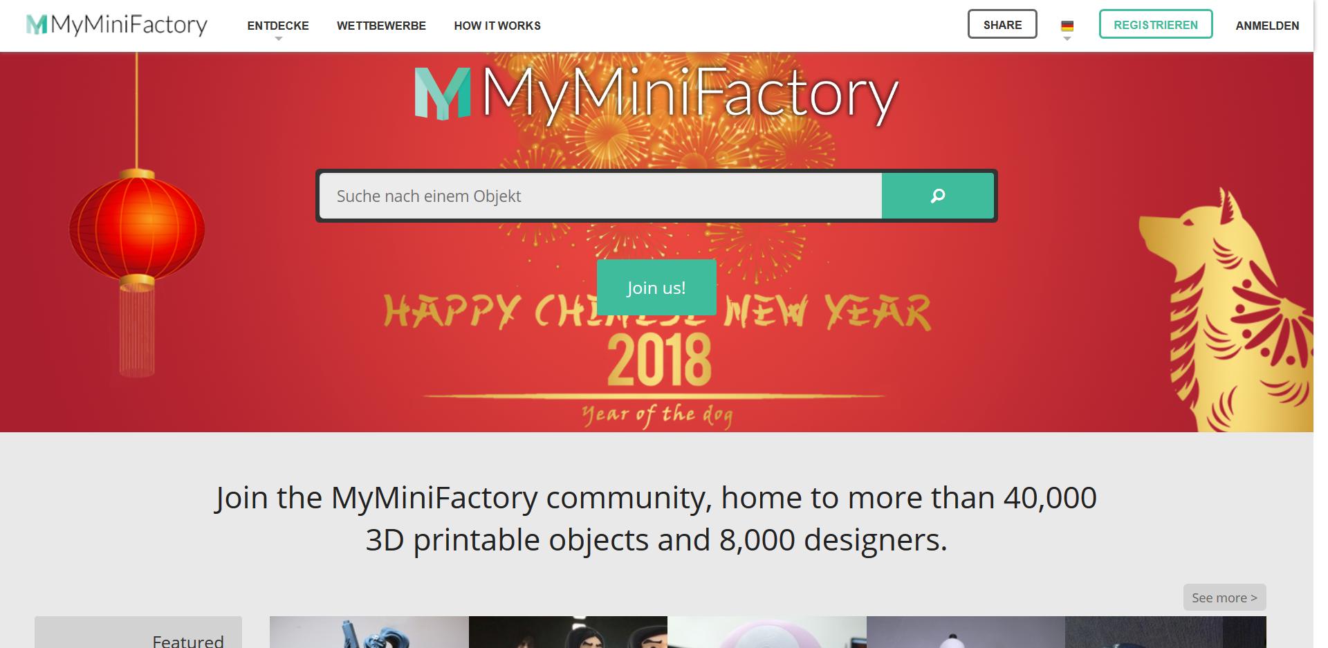 Startseite der MyMiniFactory 3D Drucker Vorlagen Seite