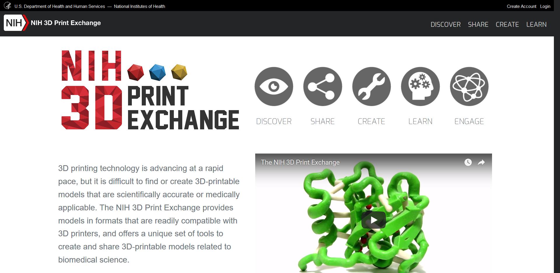 Startseite der NIH 3D Print Exchange 3D Drucker Vorlagen Seite