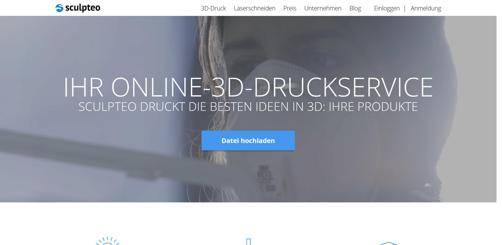 3D drucken lassen auf Sculpteo - Startseite des Service