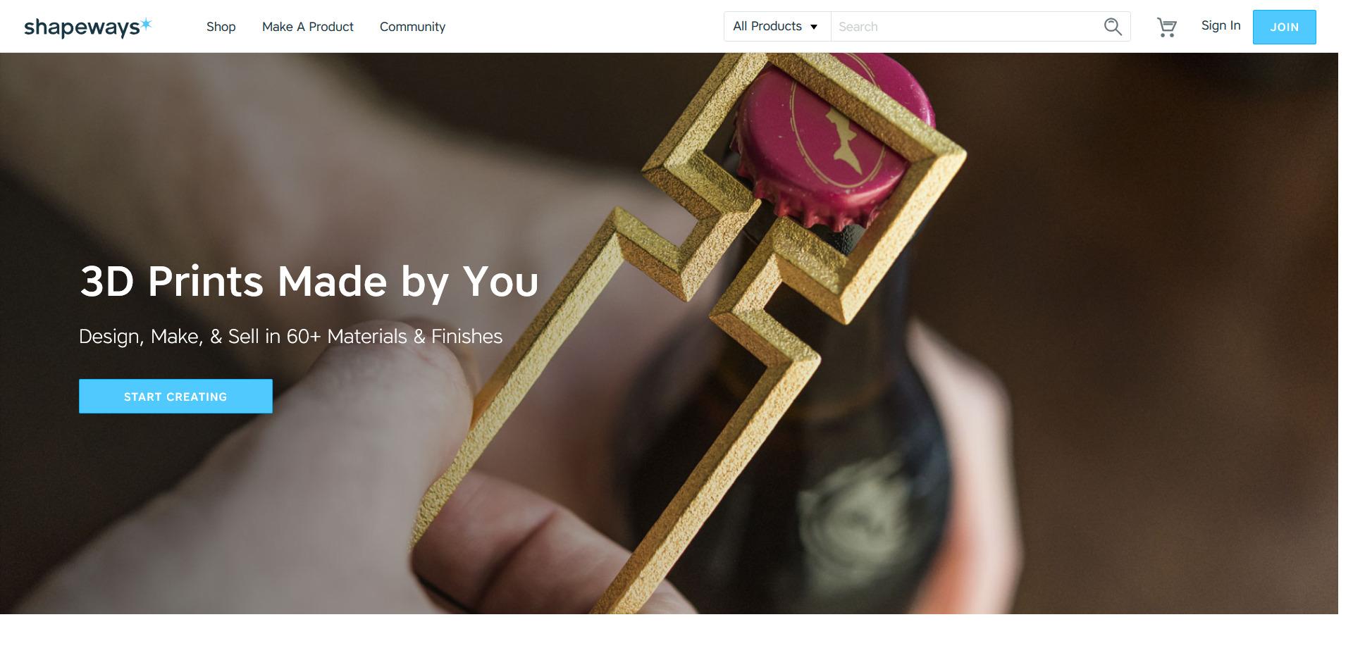 3D drucken lassen auf Shapeways - Startseite des Service