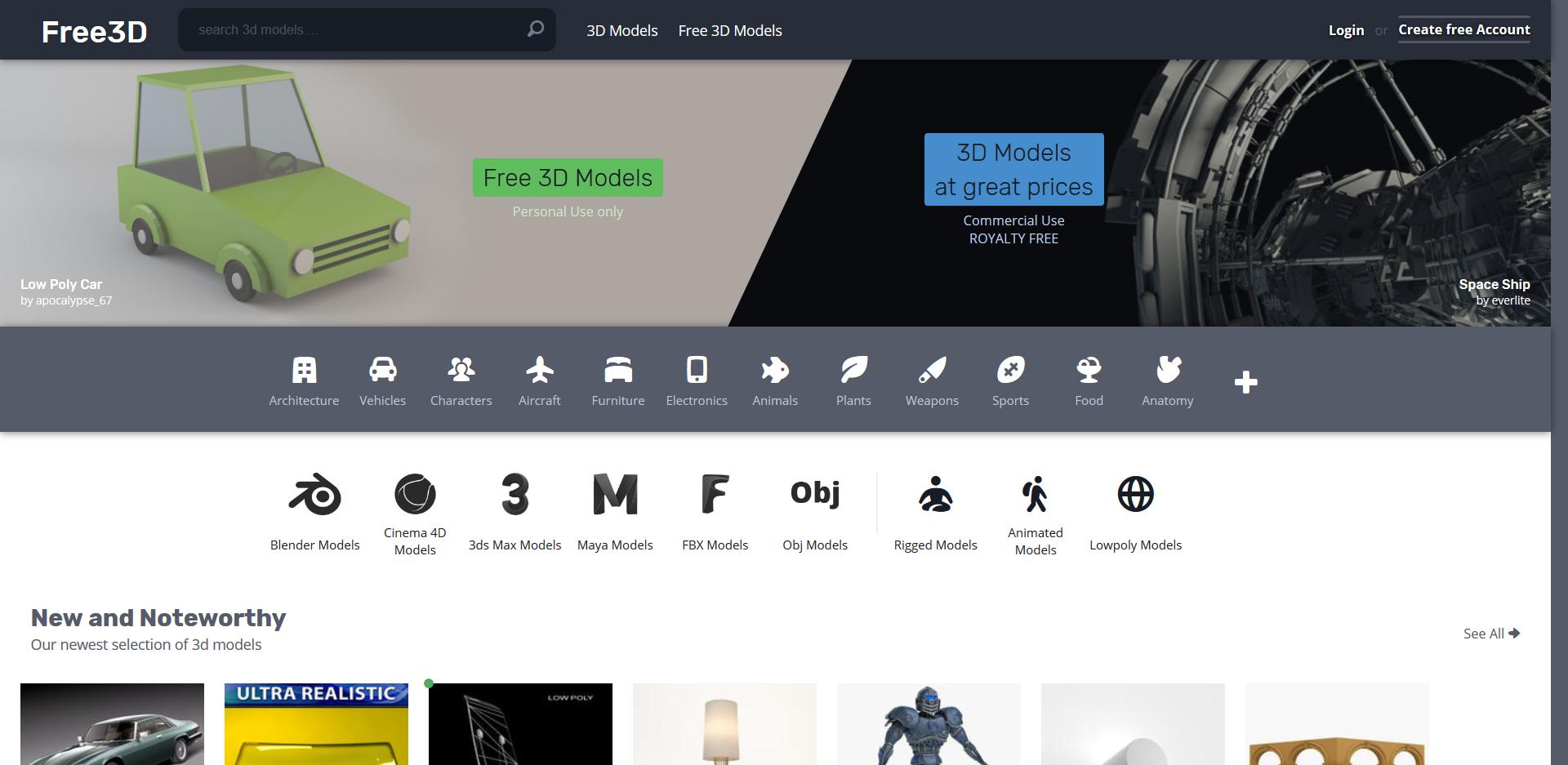 Startseite der TF3DM 3D Drucker Vorlagen Seite