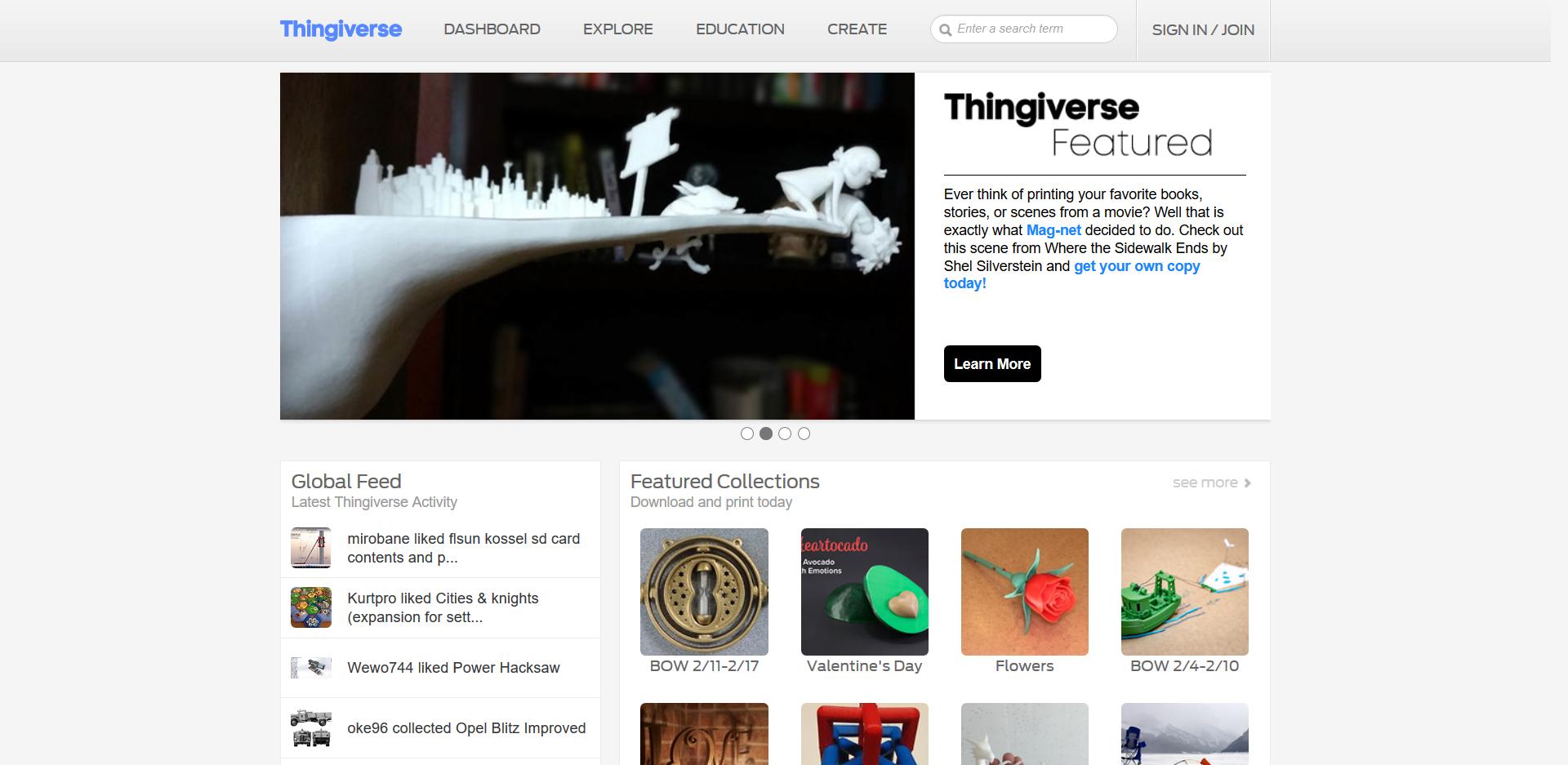 Startseite der Thingiverse 3D Drucker Vorlagen Seite
