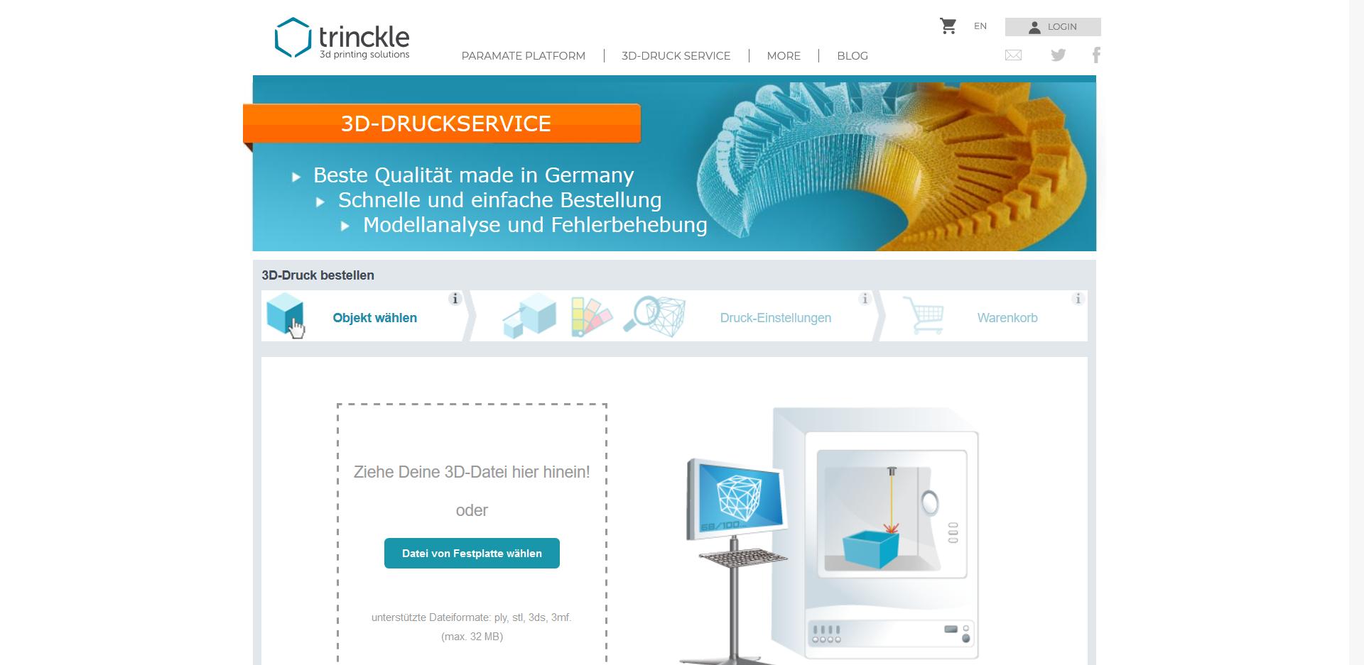 3D drucken lassen auf Trinckle - Startseite des Service