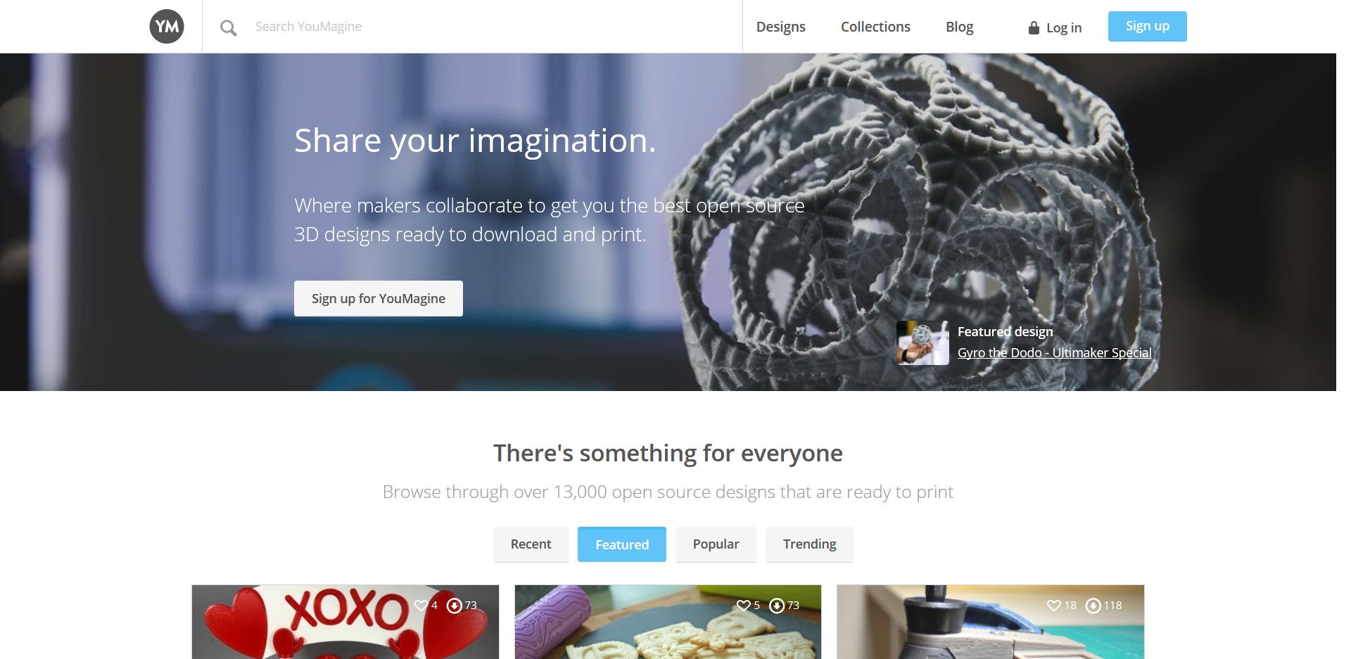 Startseite der YouMagine 3D Drucker Vorlagen Seite