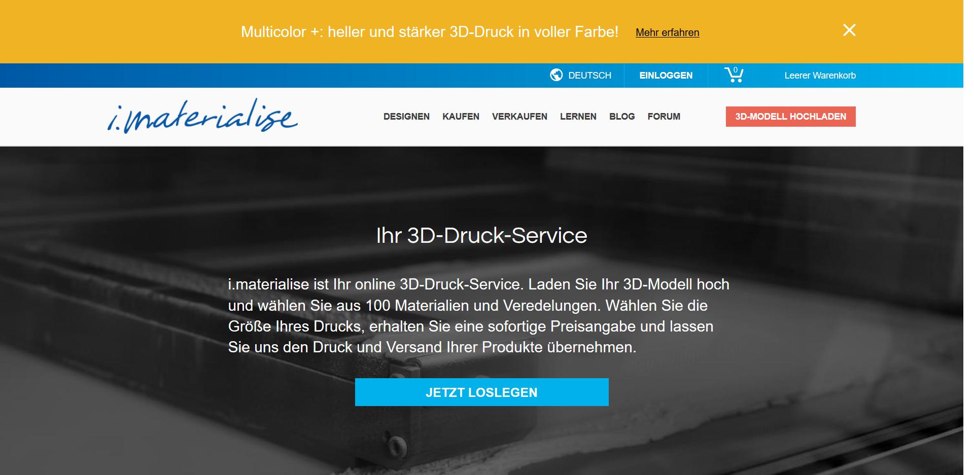 3D drucken lassen auf i.materialise - Startseite des Service