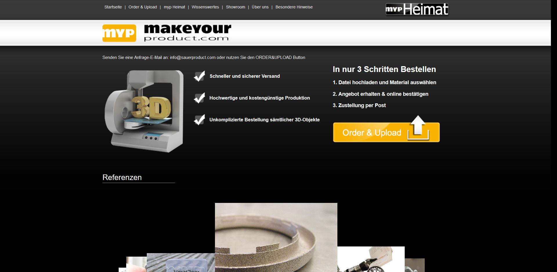 3D drucken lassen auf makeyourproduct.com - Startseite des Service